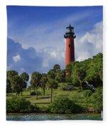 Jupiter Lighthouse Sq Fleece Blanket