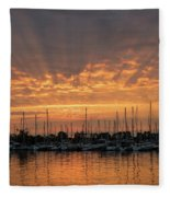 Just A Sliver Of The Sun - Sunrise God Rays At The Marina Fleece Blanket