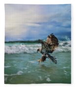 Juvenile Eagle At Sea Wildlife Art Fleece Blanket