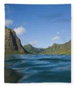 Kaaawa Valley From Ocean Fleece Blanket