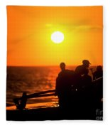 Kaanapali Beach Outrigger Sunset Fleece Blanket