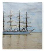 Kaiwo Maru On The Way To The Open Ocean. Fleece Blanket