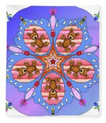 Kaleidoscope Of Bears And Bees Fleece Blanket