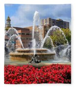 Kansas City Fountain Ablaze In Crimson Fleece Blanket