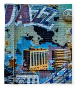 Kansas City Jazz Mural Fleece Blanket
