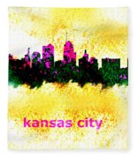 Kansas City Skyline 1 Fleece Blanket