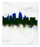 Kansas City Skyline Blue  Fleece Blanket