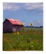 Kansas Landscape Fleece Blanket