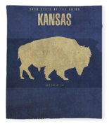 Kansas State Facts Minimalist Movie Poster Art Fleece Blanket