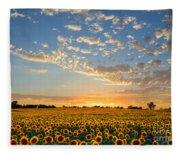 Kansas Sunflowers At Sunset Fleece Blanket