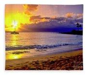 Kapalua Bay Sunset Fleece Blanket