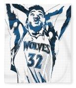 Karl Anthony Towns Minnesota Timberwolves Pixel Art Fleece Blanket