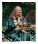 Kashia Pomo Woman Weaving Basket Fleece Blanket