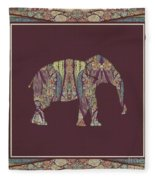 Kashmir Patterned Elephant 2 - Boho Tribal Home Decor  Fleece Blanket