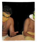 Kathakali Dancers Getting Ready Fleece Blanket
