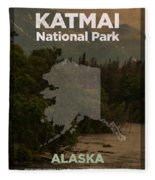 Katmai National Park In Alaska Travel Poster Series Of National Parks Number 34 Fleece Blanket