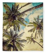 Kauai Island Palms - Blue Hawaii Photography Fleece Blanket