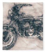Kawasaki Triple - Kawasaki Motorcycles - 1968 - Motorcycle Poster - Automotive Art Fleece Blanket