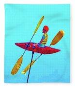 Kayak Guy On A Stick Fleece Blanket
