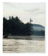 Kayak In The Fog Fleece Blanket