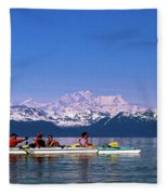 Kayakers In Alaska Fleece Blanket