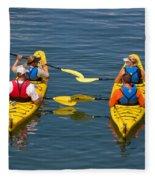 Kayakers In Bar Harbor Maine Fleece Blanket