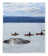 Kayakers Paddle To Fishing Cone On Yellowstone Lake Fleece Blanket