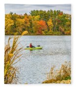 Kayaking In Fall Fleece Blanket