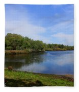 Kayaking The Cotee River Fleece Blanket