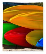 Kayaks On The Beach Fleece Blanket
