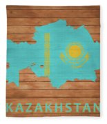 Kazakhstan Rustic Map On Wood Fleece Blanket