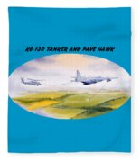 Kc-130 Tanker Aircraft And Pave Hawk With Banner Fleece Blanket
