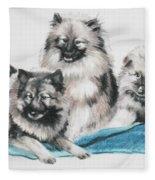 Keeshond Puppies Fleece Blanket