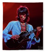 Keith Richards The Riffmaster Fleece Blanket by Paul Meijering