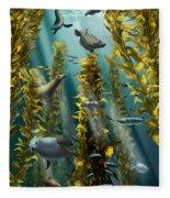 Kelp Forest With Seals Fleece Blanket