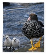 Kelp Goose With Goslings Fleece Blanket