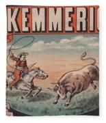 Kemmerich - Bull - Lasso - Old Poster - Vintage - Wall Art - Art Print - Cowboy - Horse  Fleece Blanket