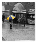 Kendall Square Rainy Day Cambridge Ma Blue And Yellow Fleece Blanket