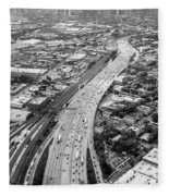 Kennedy Expressway And Chicago Skyline Fleece Blanket