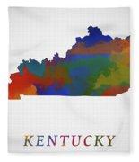 Kentucky Map Fleece Blanket
