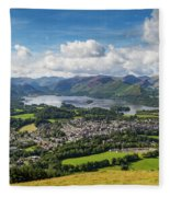 Keswick And Derwent Water View From Latrigg Fleece Blanket