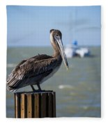 Key Largo Florida Pelican Yacht Fleece Blanket