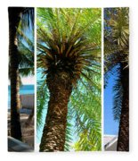 Key West Palm Triplets Fleece Blanket