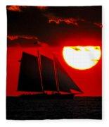 Key West Sunset Sail Silhouette Fleece Blanket