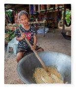 Khmer Girl Makes Sugar Cane Candy Fleece Blanket