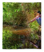 Khmer Woman Fishing - Cambodia Fleece Blanket
