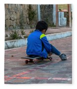 Kid Skateboarding Fleece Blanket