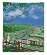 Kids On A Fence Fleece Blanket