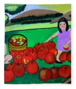 Kids Playing And Picking Apples Fleece Blanket