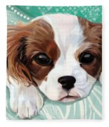 Spaniel Puppy Resting Fleece Blanket